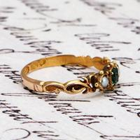 The Antique 1868 Victorian 15ct Gold Emerald and Pearl Ring (3 of 5)