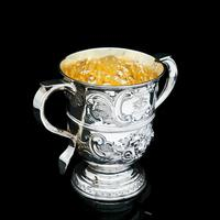 Georgian Solid Silver Loving Cup / Two Handled Cup - London 1748 (19 of 28)