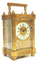Fantastic French 8-day Fleur De Lis Decorated Panel 8-day Carriage Clock Timepiece c1890 (2 of 10)