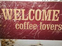 Vintage English Original Enamel Metal Welcome Coffee Lovers Double Sided Shop Sign (4 of 21)