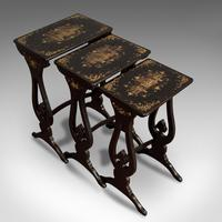 Antique Nest Of Occasional Tables, Oriental, Trio, Japanned, Victorian c.1880 (12 of 12)