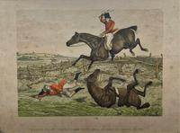 Set of Six 19thc Oak framed Humorous Coloured Sporting Hunting Engraving's (4 of 14)