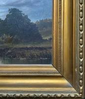 Lovely Original Mid 19th Century Antique British Castle River Landscape Oil Painting (9 of 11)