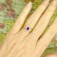 Vintage 18ct gold oval ruby & diamond cluster ring ~ Valentine proposal (10 of 10)