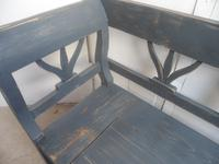 A Battleship Grey 3 Seater Antique/Old Pine Kitchen/Hall Box Settle/ Bench (4 of 9)