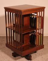 English Revolving Bookcase in Mahogany & Inlays (7 of 10)
