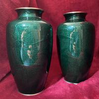 Taisho Period Pair of Japanese Cloisonne Vases (6 of 8)
