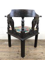 Victorian Carved Oak Corner Chair with Floral Upholstery (3 of 9)