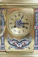 French Napoleon III Brass & Champleve Mantel Clock by Vincenti (6 of 8)