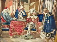 """Large Artwork Gilt Gesso Framed 19th Century Tapestry French Royal Court """"Playing Chess"""" (19 of 44)"""