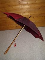 Vintage Hand Carved Handled Umbrella With Burgundy Canopy & Tassel (4 of 13)