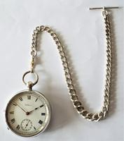 An antique silver Waltham pocket watch & chain. (3 of 6)