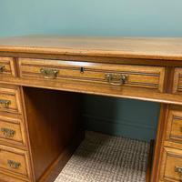 Victorian Walnut Antique Pedestal Desk (3 of 8)