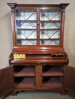 19th Century Figured Mahogany Cylinder Bureau Bookcase (4 of 12)