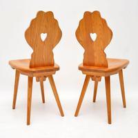 Pair of Vintage Alpine Side Chairs in Solid Elm (2 of 4)