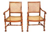 Pair of William & Mary Revival Bergere Elbow Chairs c.1930 (2 of 6)