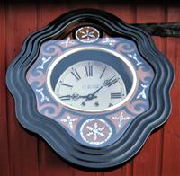 Wonderful 1880's French Striking Oval Vineyard Wall Clock by Japy Frères. (4 of 8)