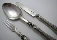 Antique 1861 Solid Sterling Silver English Victorian Christening / Childs Knife Fork Spoon Set 19th Century (2 of 8)