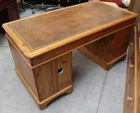 1960's Large Ducal Pine Pedestal Desk with Brown Leather inset on Top (5 of 5)