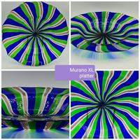 Rare Murano Glass XL Size Platter with Swirled Coloured Stripes (2 of 10)