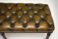 Antique Deep Buttoned  Leather & Mahogany Stool (4 of 8)