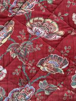 Antique French cotton double quilt eiderdown with red floral pattern (9 of 10)