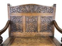 Victorian Carved Oak Settle or Hall Bench (3 of 16)