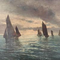 Antique marine seascape oil painting Fishing Boats with a good catch signed W Graves 1918 (7 of 11)