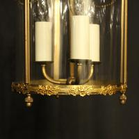 French Small Convex Gilded Triple Light Antique Lantern (6 of 10)