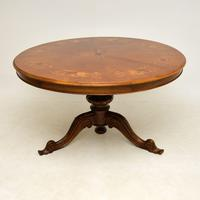 Antique Italian Marquetry Top Walnut Dining Table (2 of 10)