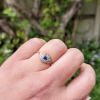 Art Deco 18ct Yellow Gold, Platinum, Sapphire & Diamond Ring (7 of 9)