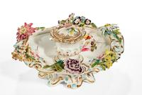 Mid 19th Century Porcelain Flower Encrusted Inkwell (3 of 4)