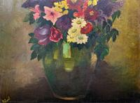 Large 19th Century French Farmhouse Impressionist Still Life Floral Oil Painting Signed (5 of 12)