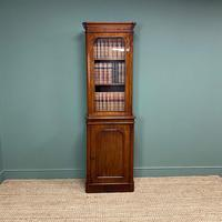 Tall Slim Victorian Mahogany Antique Bookcase on Cupboard (8 of 10)