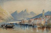 Large Lake in Italy - Beautiful 1930s Watercolour Landscape Painting (2 of 9)