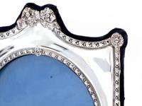 Decorative Edwardian Silver Double Folding Frame with a Floral and Bow Border (2 of 7)