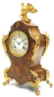 Wow! Phenomenal French Boulle Mantel Clock Multi Wood floral inlay 8 Day Mantle Clock (6 of 6)