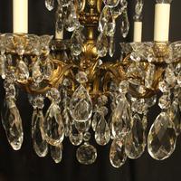 Italian Gilt Bronze & Crystal 6 Light Antique Chandelier (5 of 10)