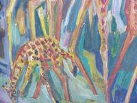 Large oil on board Giraffes in the park listed artist Henry Sanders (6 of 11)