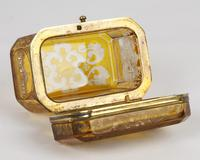 Bohemian Antique Engraved Metal Mounted Overlay Yellow Glass Sugar Casket 19th Century (16 of 19)