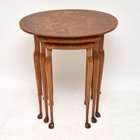 Antique Burr Walnut Oval Nest of Tables (2 of 8)