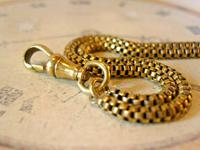 Victorian Pocket Watch Chain 1890s Antique Brass Double Albert With T Bar (10 of 11)