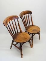 Pair of Good Quality Victorian Windsor Spindle Back Kitchen Chairs in Beech & Elm (7 of 10)
