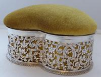 Large Victorian 1899 Hallmarked Silver Jewellery Box Pin Cushion Ring Earring (9 of 13)
