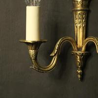 French Gilded Twin Arm Antique Wall Lights (7 of 10)