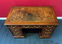 Small Antique Edwardian Leather Bound Mahogany Twin-Pedestal Writing Desk (9 of 16)