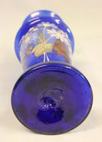 Antique Pair Bristol Blue Glass Shaped Decorated Vases (5 of 6)