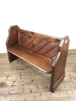 Antique Pitch Pine Church Pew with Enamel Number 28 (4 of 12)