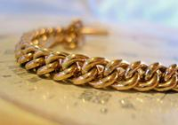 Victorian Pocket Watch Chain 1890s Large 10ct Rose Gold Filled Double Albert & T Bar (6 of 11)