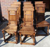 1960's Oak Refectory Table with Set 8 Jacobean style Oak Highback Dining Chairs (3 of 7)